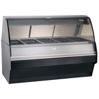 Alto-Shaam TY2SYS-72/PR BK Black Heated Display Case with Curved Glass and Base - Right Self Service 72 inch
