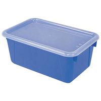Storex 62408U06C 12 inch x 8 inch x 5 inch Blue Cubby Bin with Lid - 6/Pack