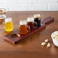Acopa 18 inch Mahogany Finish Flight Paddle with Mason Jar Tasting Glasses