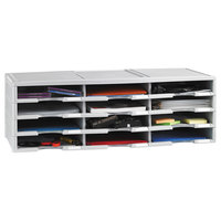 Storex 61601U01C 12 Section Gray Literature Organizer - 13 3/10 inch x 10 5/8 inch x 31 2/5 inch
