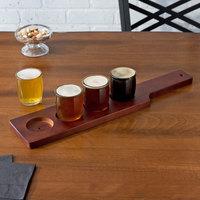 Acopa Beer Flight Set - 4 Beer Tasting Glasses with Red-Brown Wood Paddle