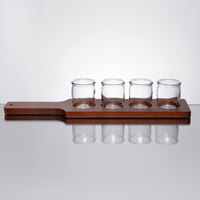 Acopa 18 inch Mahogany Finish Flight Paddle with Rounded Tasting Glasses