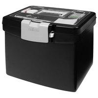 Storex 61504U01C Black Plastic Portable Letter File Storage Box with Organizer Lid - 13 1/4 inch x 10 7/8 inch x 11 inch
