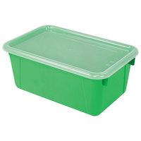 Storex 62409U06C 12 inch x 8 inch x 5 inch Green Cubby Bin with Lid - 6/Pack