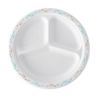 Huhtamaki Chinet 22524 10 1/4 inch 3-Compartment Molded Fiber Round Plate with Vines Design - 500/Case
