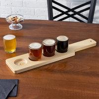 Acopa Beer Flight Set - 4 Beer Tasting Glasses with Natural Wood Paddle