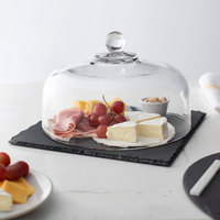 Acopa 12 inch Square Black Slate Tray with 10 inch Glass Dome and Soapstone Chalk