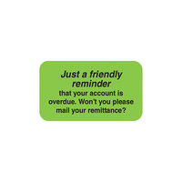 Tabbies 04220 7/8 inch x 1 1/2 inch Green Friendly Reminder Label - 250/Roll