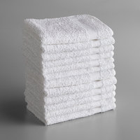 Lavex Lodging Economy 12 inch x 12 inch 100% Cotton Wash Cloth with Overlock Stitch 1 lb.   - 12/Pack