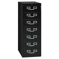 Tennsco CF758BK 19 1/8 inch x 52 inch Black 7 Drawer Multimedia Cabinet