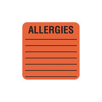 Tabbies 40560 2 inch x 2 inch Orange Medical Label For Allergies - 500/Roll