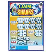 Casino Sharks 5 Window Pull Tab Tickets - 3080 Tickets per Deal - Total Payout: $1120