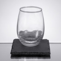 Acopa 9 oz. Stemless Wine Glass with Slate Tasting Plate Set - 12/Case