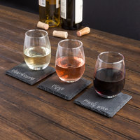 Acopa 9 oz. Stemless Wine Glass and Slate Appetizer / Tasting Plate Set - 12/Case