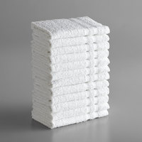 Lavex Lodging Standard 12 inch x 12 inch Cotton/Poly Wash Cloth with Overlock Stitch 1 lb.   - 12/Pack