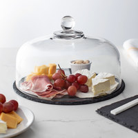 Acopa 12 inch Round Black Slate Tray with 10 inch Glass Dome and Soapstone Chalk