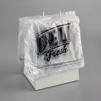 Choice Deli Saddle Bag Stand with 10 inch x 8 inch Printed Deli Fresh HDPE Plastic Deli Bags - Slide Seal Top