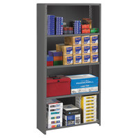 Tennsco ESPC1236MGY Medium Gray Steel 5 Shelf Closed Commercial Shelving - 36 inch x 12 inch x 75 inch