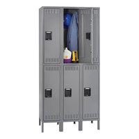 Tennsco DTS1218363MG Triple Stack Double Tier Gray Steel Locker with Legs - 36 inch x 18 inch