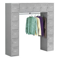Tennsco SRS721872AMG Sixteen Compartment Medium Gray Steel Locker with Coat Bar - 72 inch x 18 inch