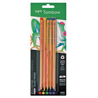 Tombow 61550 5 Assorted Recycled Cedar-Cased Barrel 3.05mm Colored Pencil Set