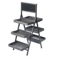 Galvanized Metal Finish 3 Tier Folding Step Ladder Tray Display with Chalkboard 34 1/4 inch x 17 1/4 inch x 43 inch