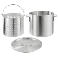Choice 32 Qt. Standard Weight Aluminum Stock Pot with Steamer Basket and Cover