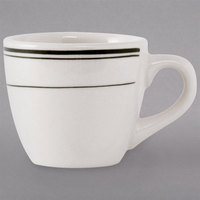 Tuxton TGB-035 Green Bay 3.5 oz. Eggshell China Espresso Cup with Green Bands   - 36/Case