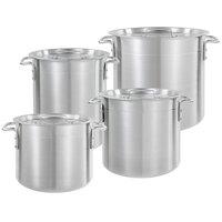 Choice 8-Piece Standard Weight Aluminum Stock Pot Set with 8 Qt., 12 Qt., 16 Qt., and 20 Qt. Pots and 3 Pot Covers