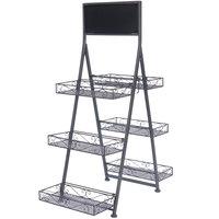 Metal 3 Tier Folding Step Ladder Tray Display with Chalkboard - 28 inch x 14 1/4 inch x 40 3/4 inch