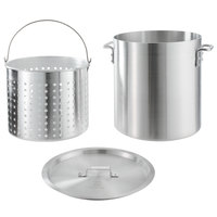 Choice 40 Qt. Standard Weight Aluminum Stock Pot with Steamer Basket and Cover