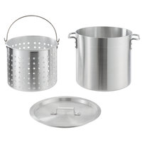 Choice 20 Qt. Standard Weight Aluminum Stock Pot with Steamer Basket and Cover
