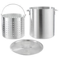 Choice 60 Qt. Standard Weight Aluminum Stock Pot with Steamer Basket and Cover