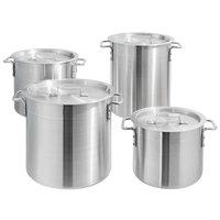 Choice 8-Piece Standard Weight Aluminum Stock Pot Set with 8 Qt., 10 Qt., 12 Qt., and 16 Qt. Pots and Pot Covers