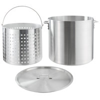 Choice 80 Qt. Standard Weight Aluminum Stock Pot with Steamer Basket and Cover