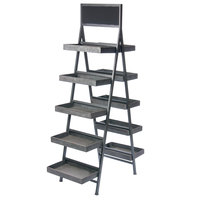 Galvanized Metal Finish 5 Tier Folding Step Ladder Tray Display with Chalkboard 34 1/4 inch x 17 1/4 inch x 64 inch