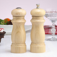Chef Specialties 06200 Professional Series 6 inch Customizable Salem Natural Finish Pepper Mill and Salt Shaker