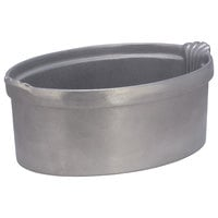 Bon Chef 2084P 8 Qt. Pewter-Glo Cast Aluminum Oval Casserole Dish with Shell Handles
