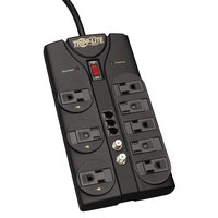 Tripp Lite TLP808TELTV Protect It! 8' Dark Gray 8 Outlet Surge Suppressor, 2160 Joules