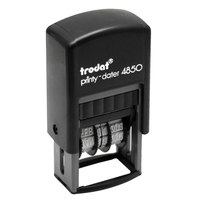 Trodat USSE4853L Economy 3/4 inch x 1 inch Blue / Red Self-Inking 5-in-1 Micro Date Stamp
