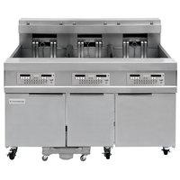 Frymaster 31814EF Oil Conserving 180 lb. Electric 3 Unit Floor Fryer with SMART4U Lane Controls and Filtration System - 208V, 3 Phase, 51 kW