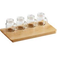 Acopa Natural Flight Tray with Mason Jar Tasting Glasses