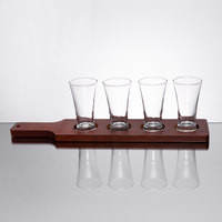 Acopa Mahogany Finish Drop-In Flight Paddle with Flared Tasting Glasses