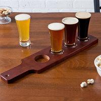 Acopa Beer Flight Set - 4 Flare Beer Sampler Glasses with Red-Brown Wood Drop-In Flight Sampler Paddle