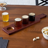 Acopa Beer Flight Set - 4 Beer Tasting Glasses with Red-Brown Wood Drop-In Flight Paddle