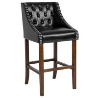 Flash Furniture CH-182020-T-30-BK-GG Carmel Series Black Tufted Leather Bar Stool with Walnut Frame and Nail Trim Accents