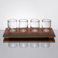 Acopa Chalkboard Tray with Rounded Tasting Glasses