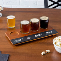 Acopa Beer Flight Set - 4 Beer Tasting Glasses with Walnut Finish Write-On Flight Board