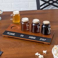 Acopa Beer Flight Set - 4 Mini Mason Jar Glasses with Walnut Finish Write-On Flight Board