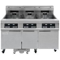 Frymaster 31814EF Oil Conserving 180 lb. Electric 3 Unit Floor Fryer with Digital Controller and Filtration System - 208V, 3 Phase, 51 kW